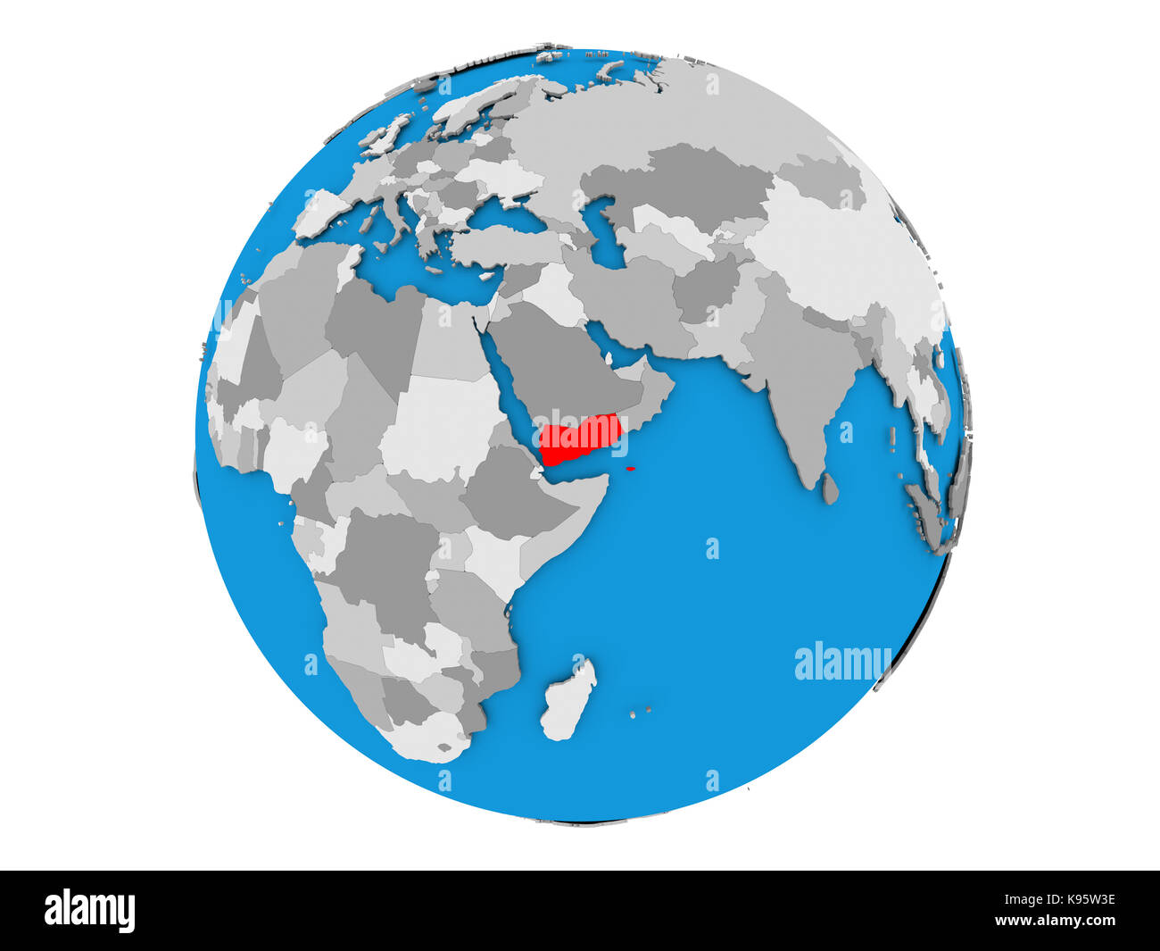 Yemen highlighted in red on political globe. 3D illustration isolated on white background. - Stock Image