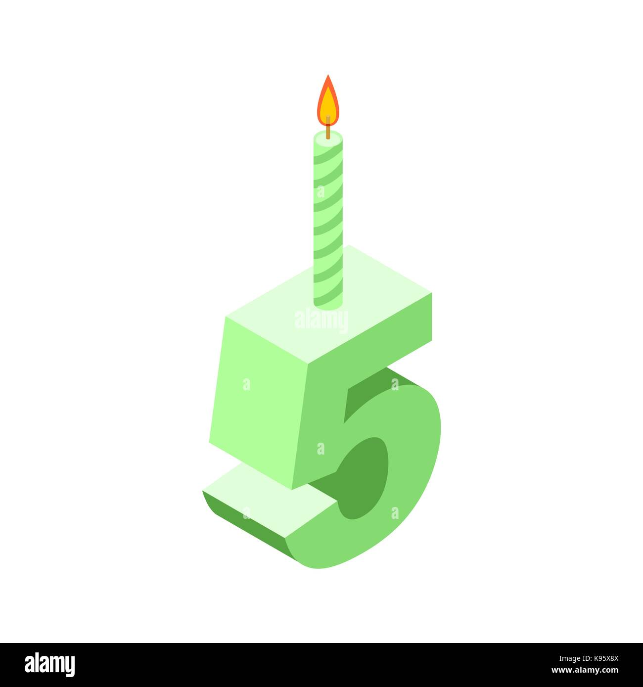 5 Number And Candles For Birthday  Five Figure For Holiday