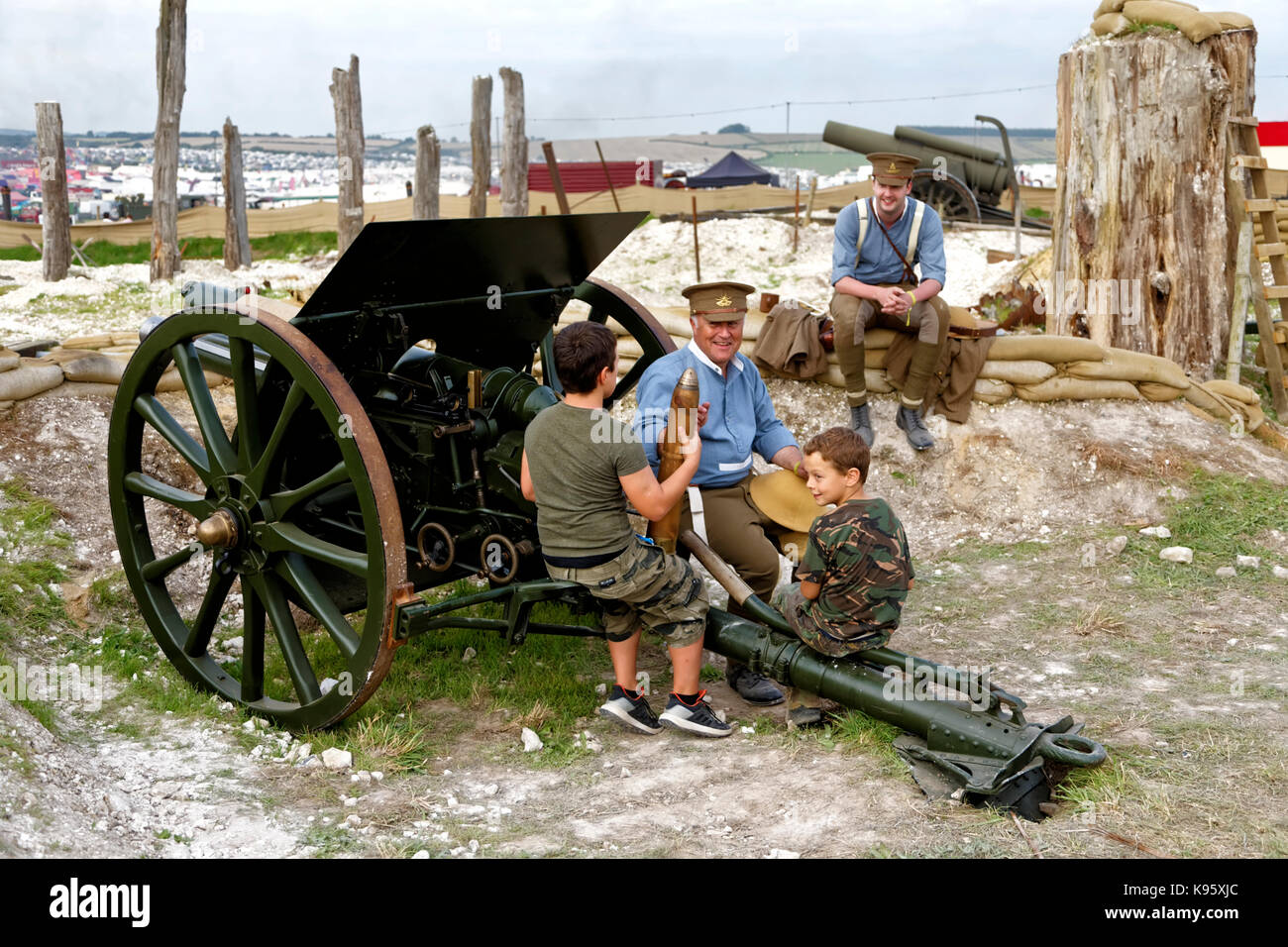 World War One Western Front Commemorative Display at the Great Dorset Steam Fair 2017 - Stock Image
