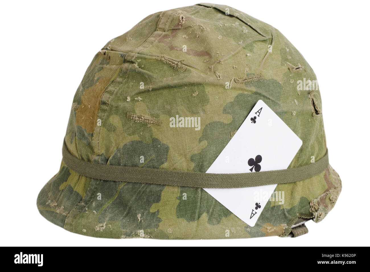 Us Army Helmet Vietnam War Period With Amulet Ace Of Clubs Playing Stock Photo Alamy