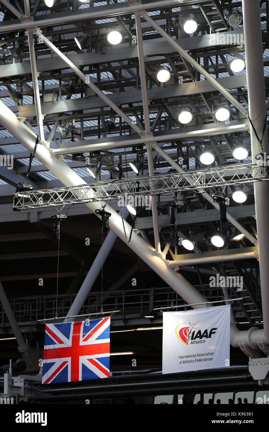 The Union Jack & IAAF flags flying at the World Championships, Queen Elizabeth Olympic Park, Stratford, London, - Stock Image