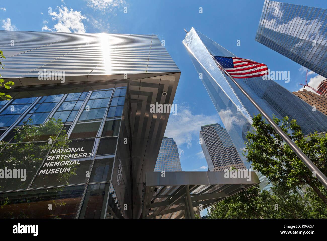 The National September 11 Memorial Museum near the Freedom Tower, Manhattan, New York. Stock Photo