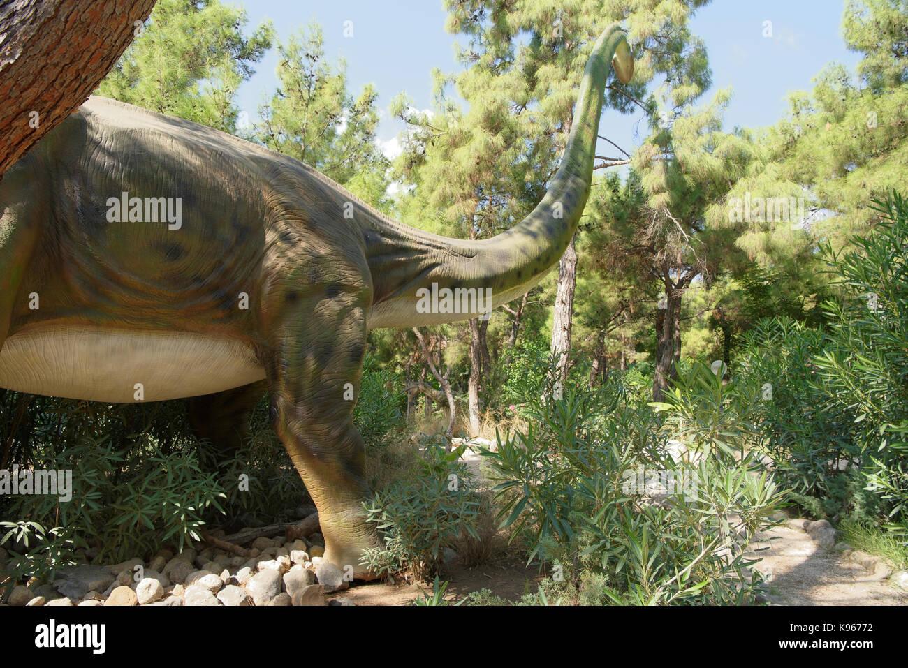 Kemer;Turkey-August 14; 2017: Brachiosaurus-Late Jurassic period /156-145 million years ago. In the Dinopark Stock Photo