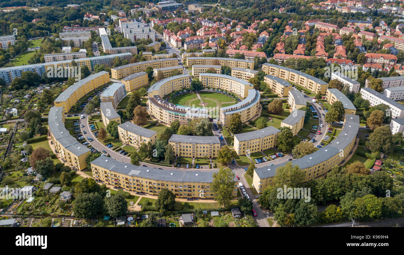 Aerial view of apartment houses in concentric circles in Leipzig. Germany - Stock Image