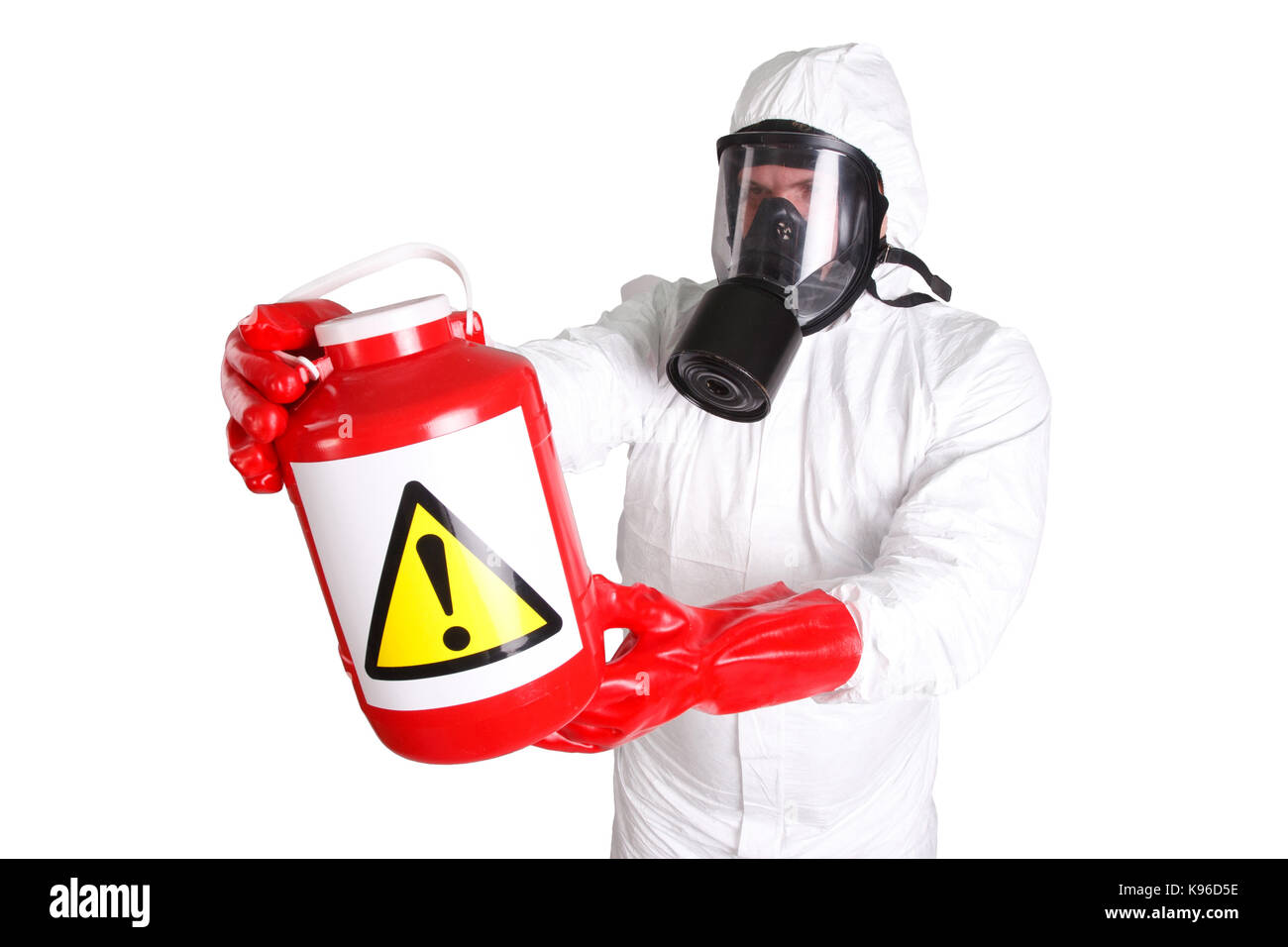 Man in hazardous materials suit isolated on white Stock Photo