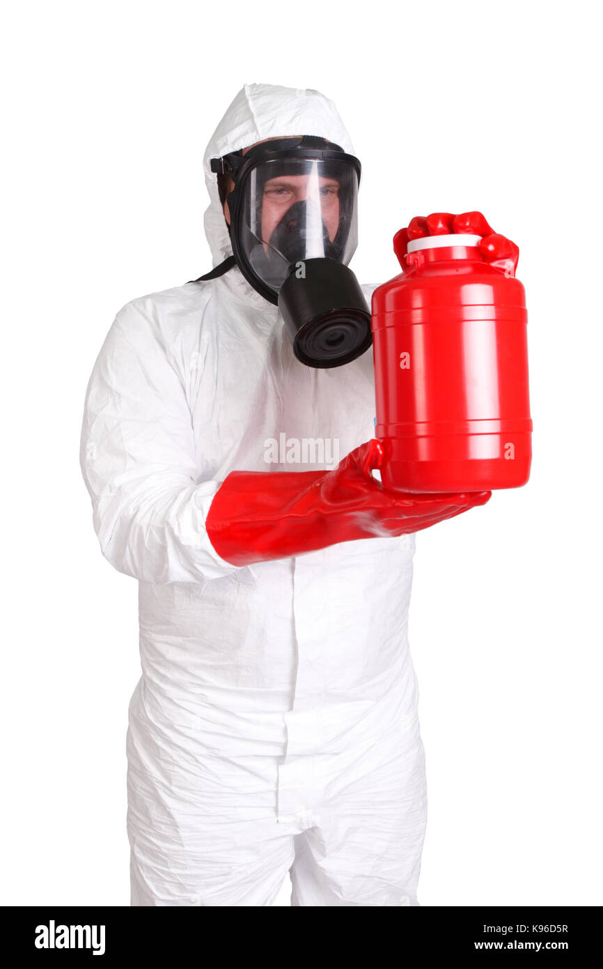 Man in hazardous materials suit isolated on white - Stock Image