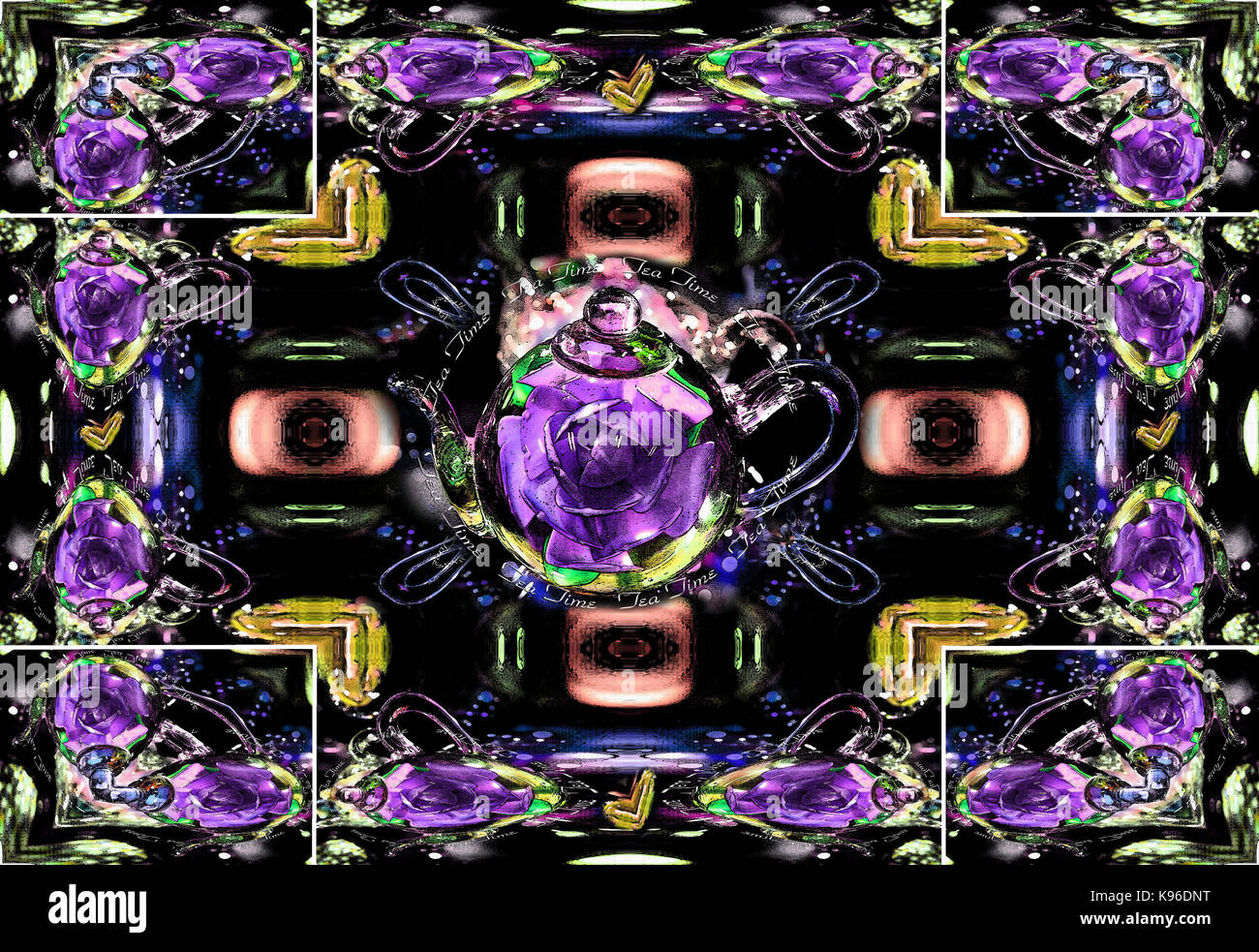 Antiqued teapot features lavendar colored rose floating inside a transparent glass pot.  Two of four set stock prints - Stock Image