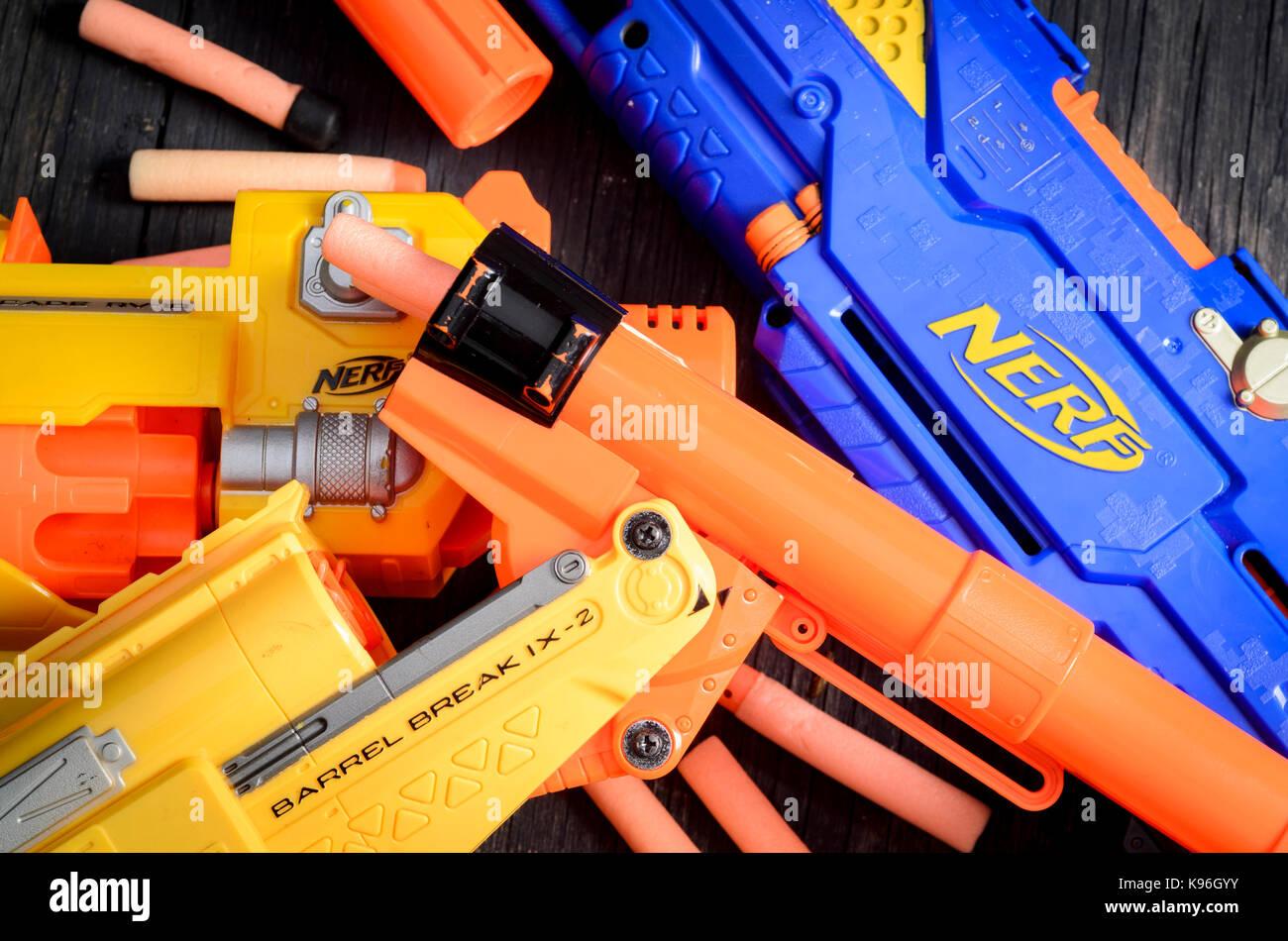 Nerf Dart Gun and Foam Bullets - Stock Image