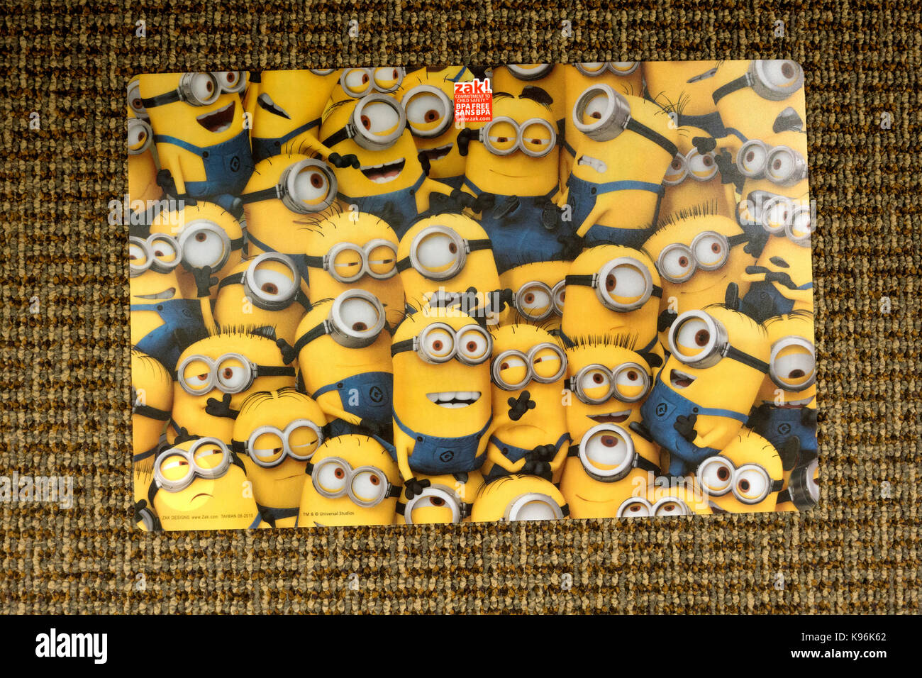 Table place mat filled with Minions. St Paul Minnesota MN USA - Stock Image