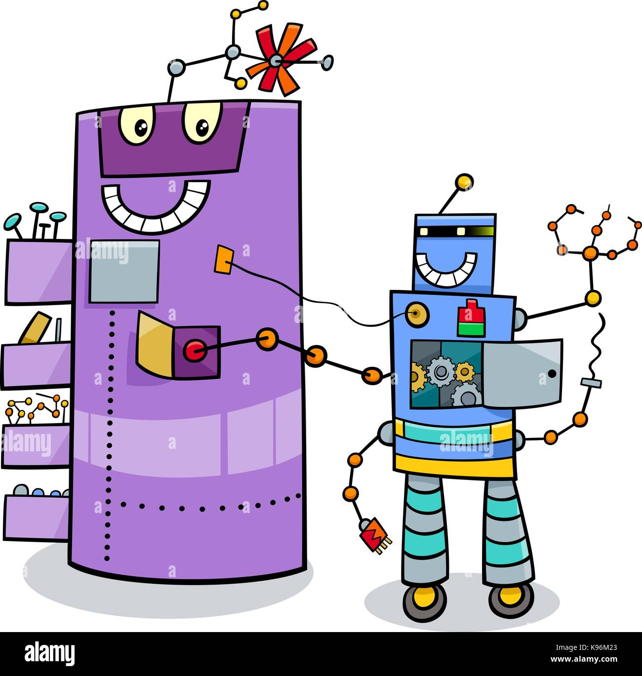 Cartoon Illustration Of Funny Robots Science Fiction Comic Character