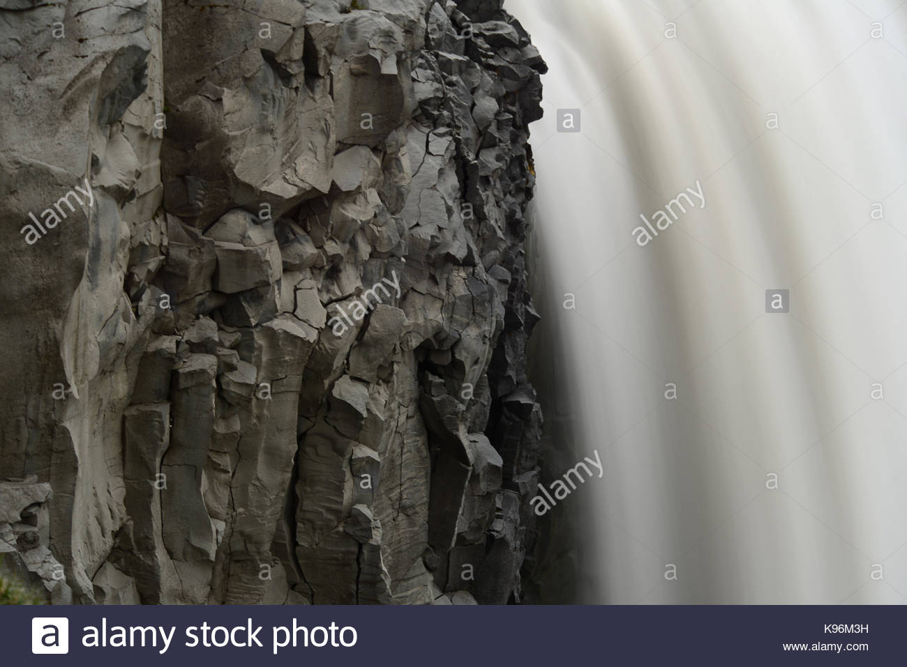 Detifoss Waterfall with basaltic columns. - Stock Image