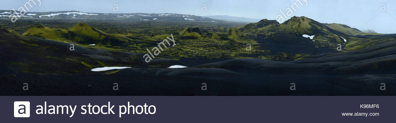 Laki or Lakagigar, Craters of Laki, a volcanic fissure in the south of Iceland. - Stock Image