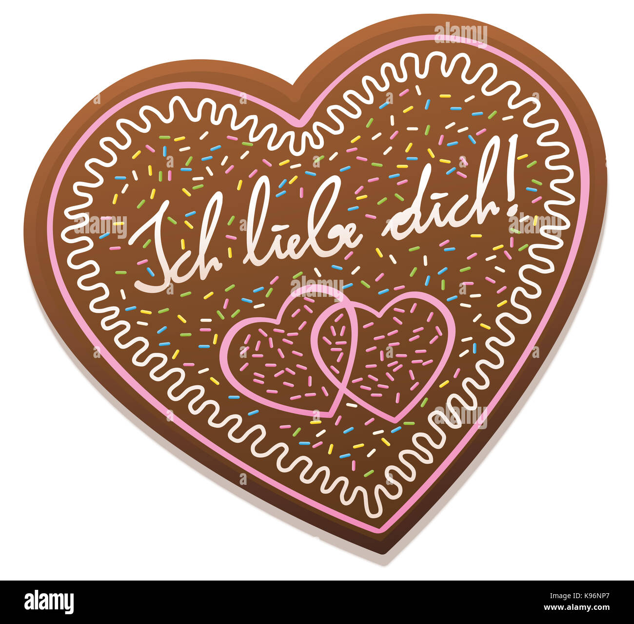 ICH LIEBE DICH - german for I love you - written on a typical bavarian gingerbread heart from original Oktoberfest - Stock Image