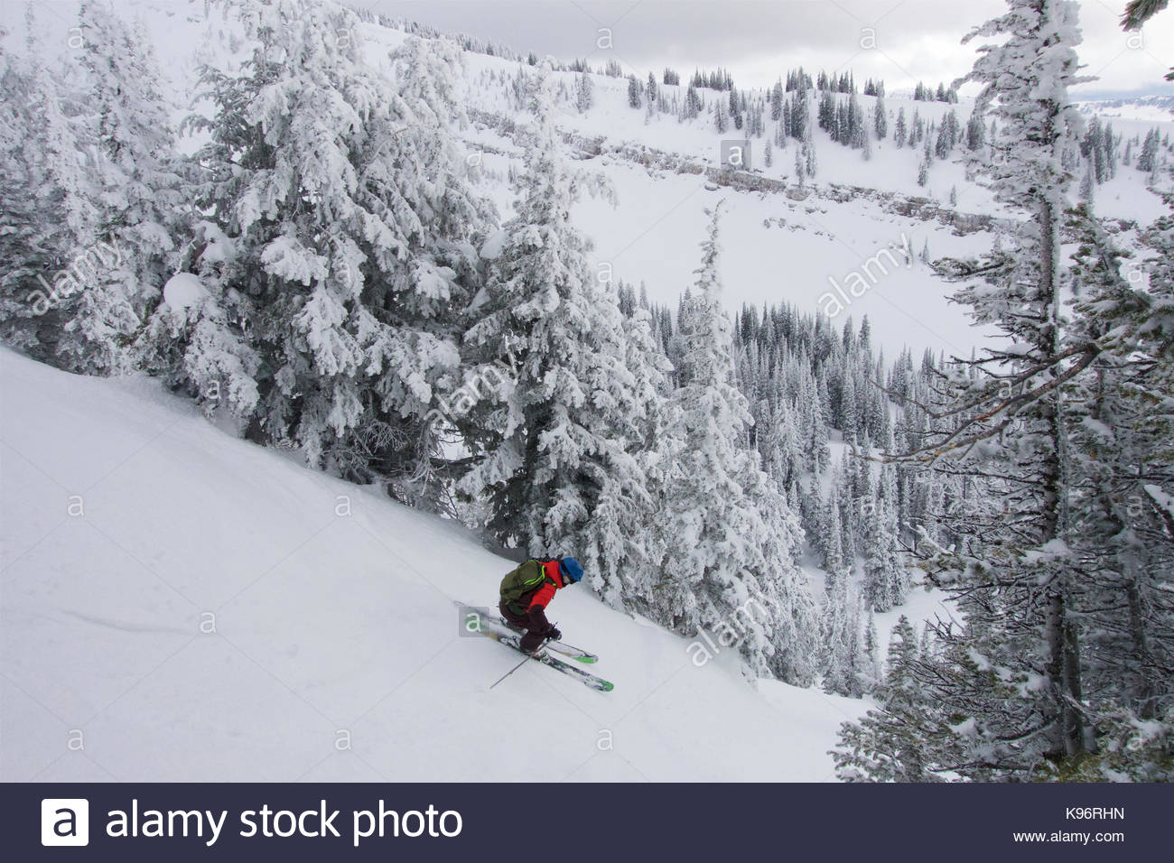 A teen boy downhill skiing with rime covered trees in the mountains on a cloudy day. - Stock Image