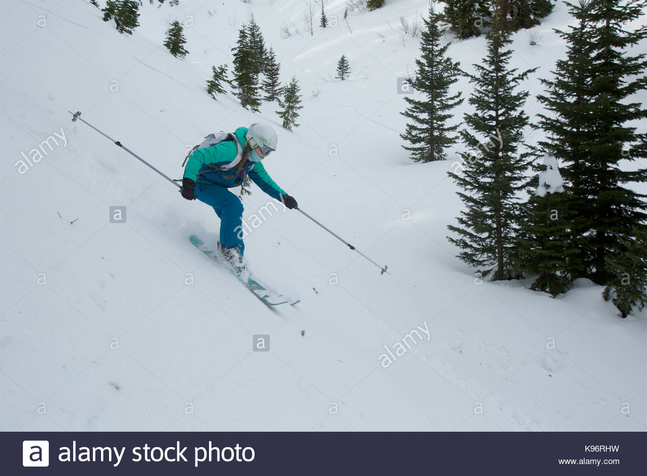 A teen girl backcountry skiing in the mountains with conifer trees. - Stock Image