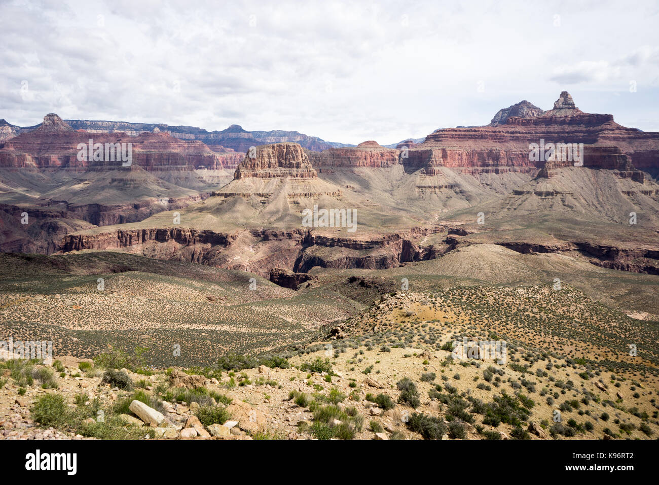 A view into The Grand Canyon along South Kaibab Trail. Stock Photo