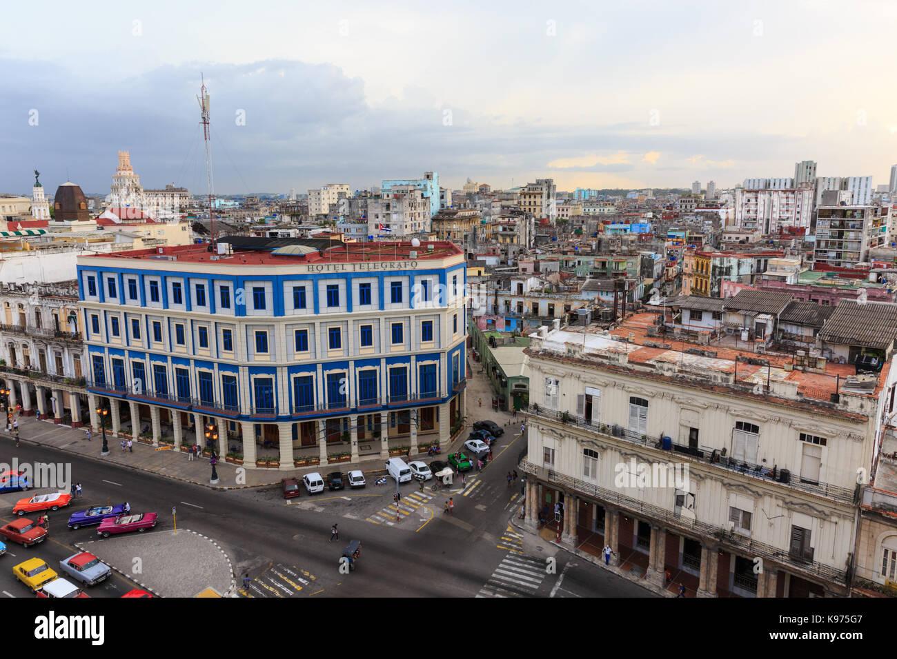 View of Paseo del Prado with the Hotel Inglaterra from above, La Habana Vieja, Old Havana, Cuba - Stock Image