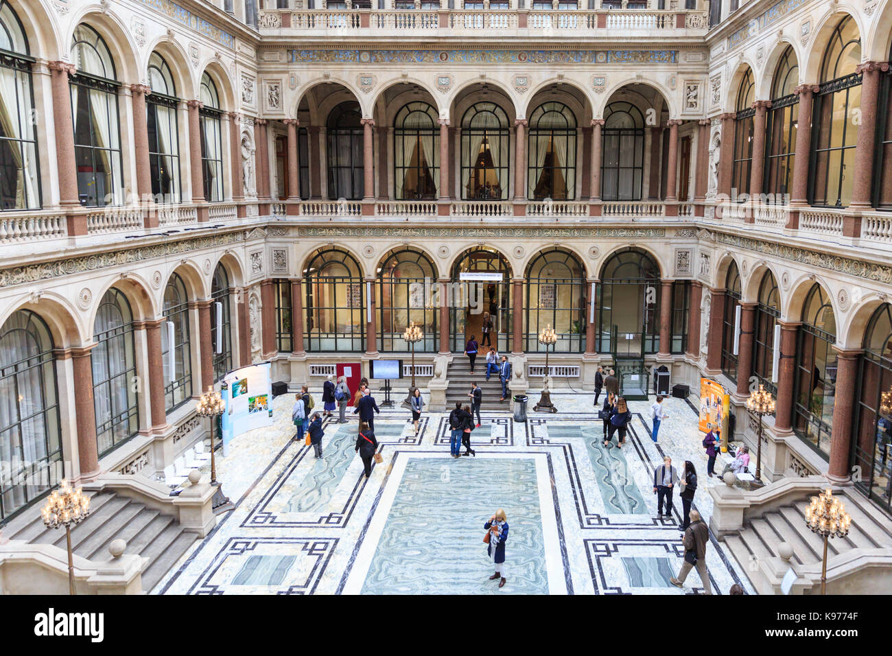 The Durbar Court at the former India Office, British Foreign and Commonwealth Office, Westminster, London, England, Stock Photo