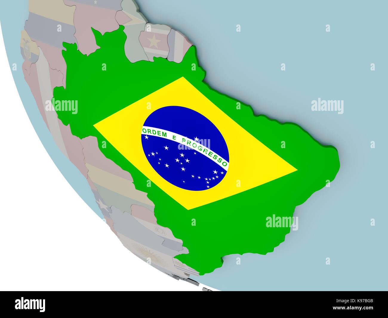 Map of brazil on political globe with embedded flags 3d stock photo map of brazil on political globe with embedded flags 3d illustration gumiabroncs Image collections