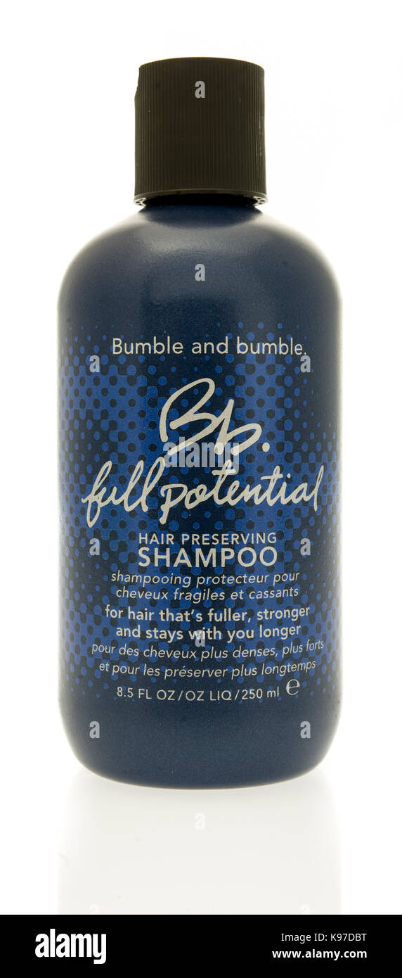 Winneconne, WI - 20 September 2017:  A bottle of Bumble and bumble shampoo on an isolated background. - Stock Image