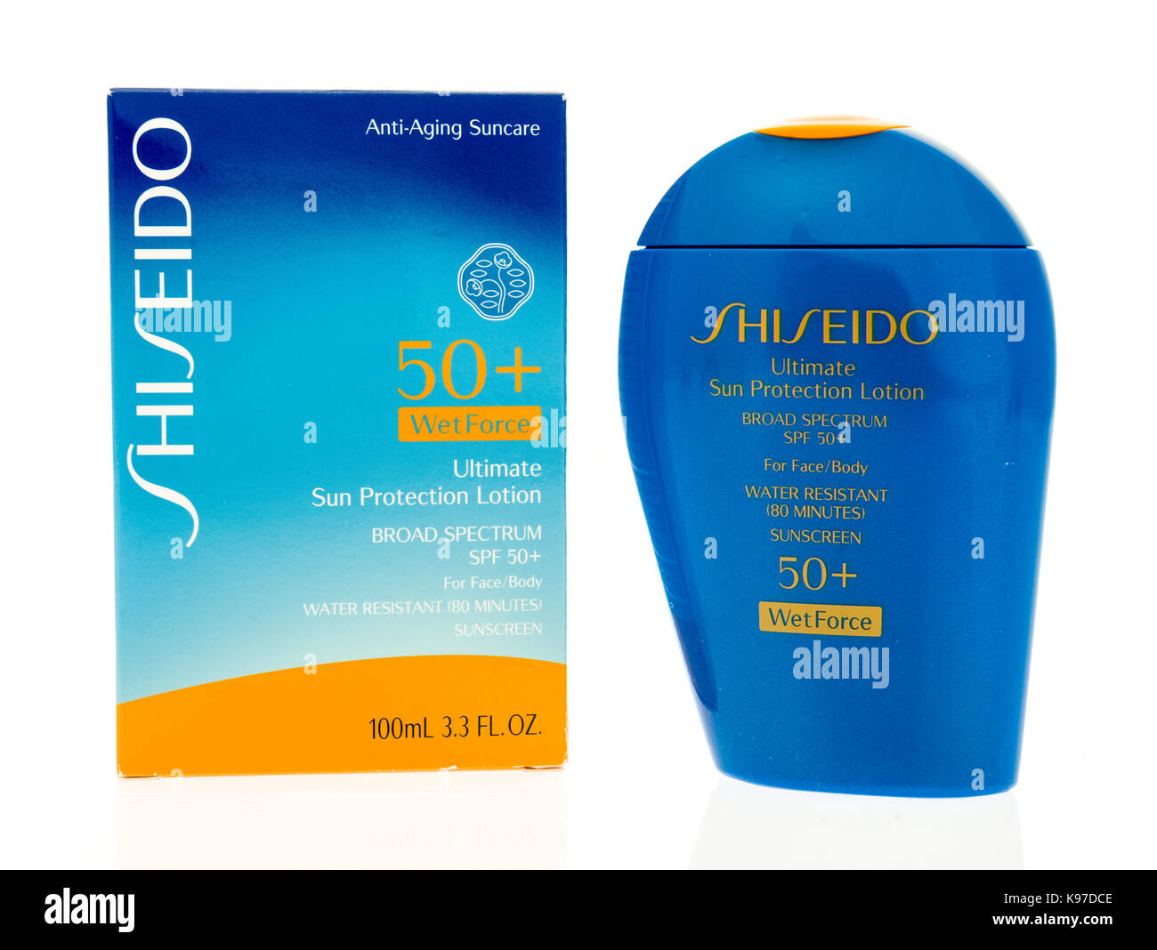 Winneconne, WI - 20 September 2017:  A bottle of Shiseido sunscreen on an isolated background. - Stock Image