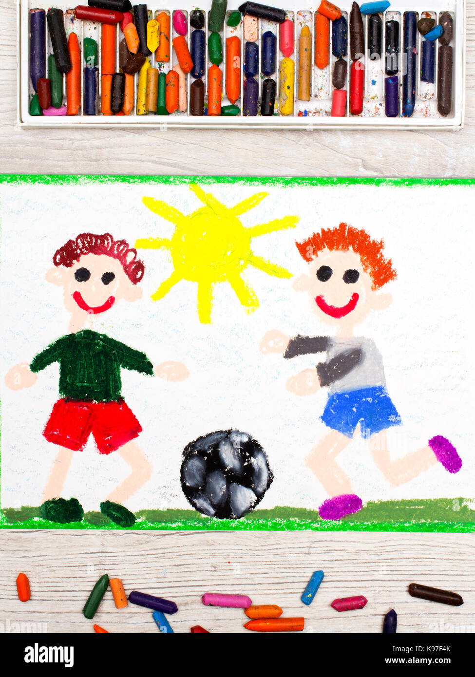 Photo Of Colorful Drawing Two Little Boys Play Football Soccer Game Stock Photo Alamy