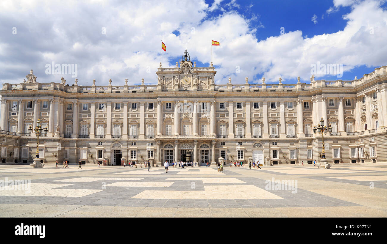 MADRID, SPAIN - June 27, 2017: The Royal Palace of Madrid is the official residence of the Spanish Royal Family - Stock Image