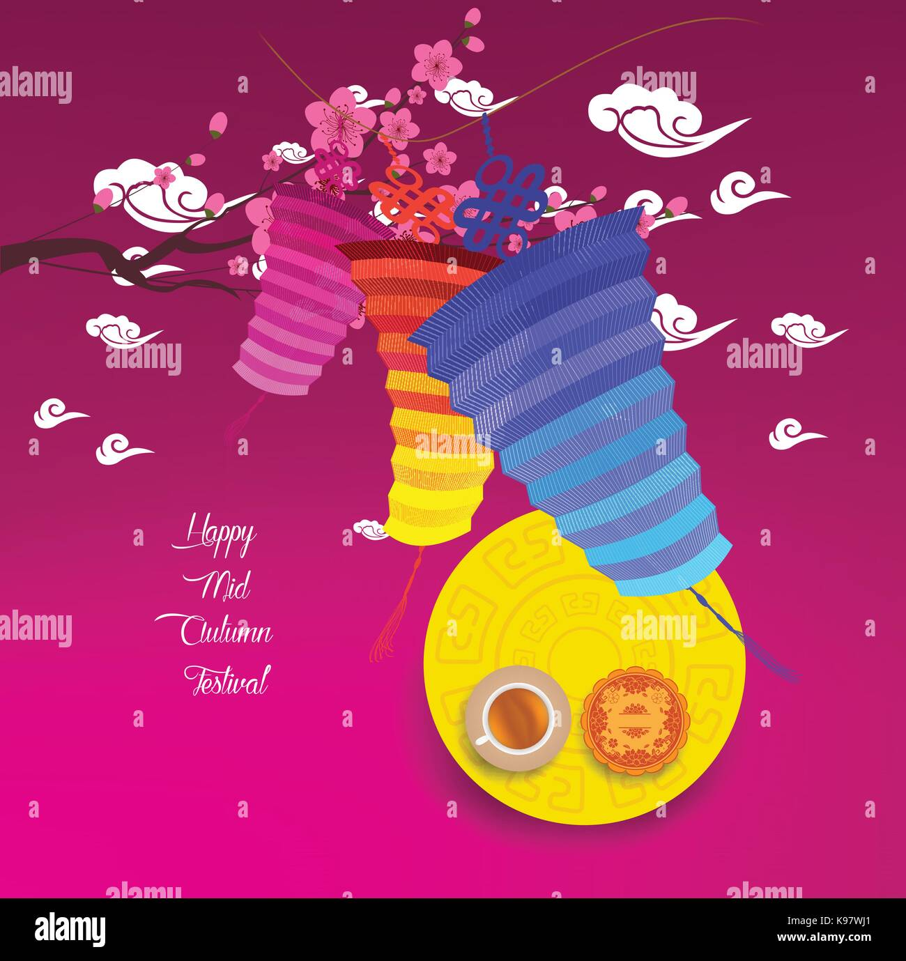 Mid Autumn Lantern Festival background. Chinese new year Stock Vector