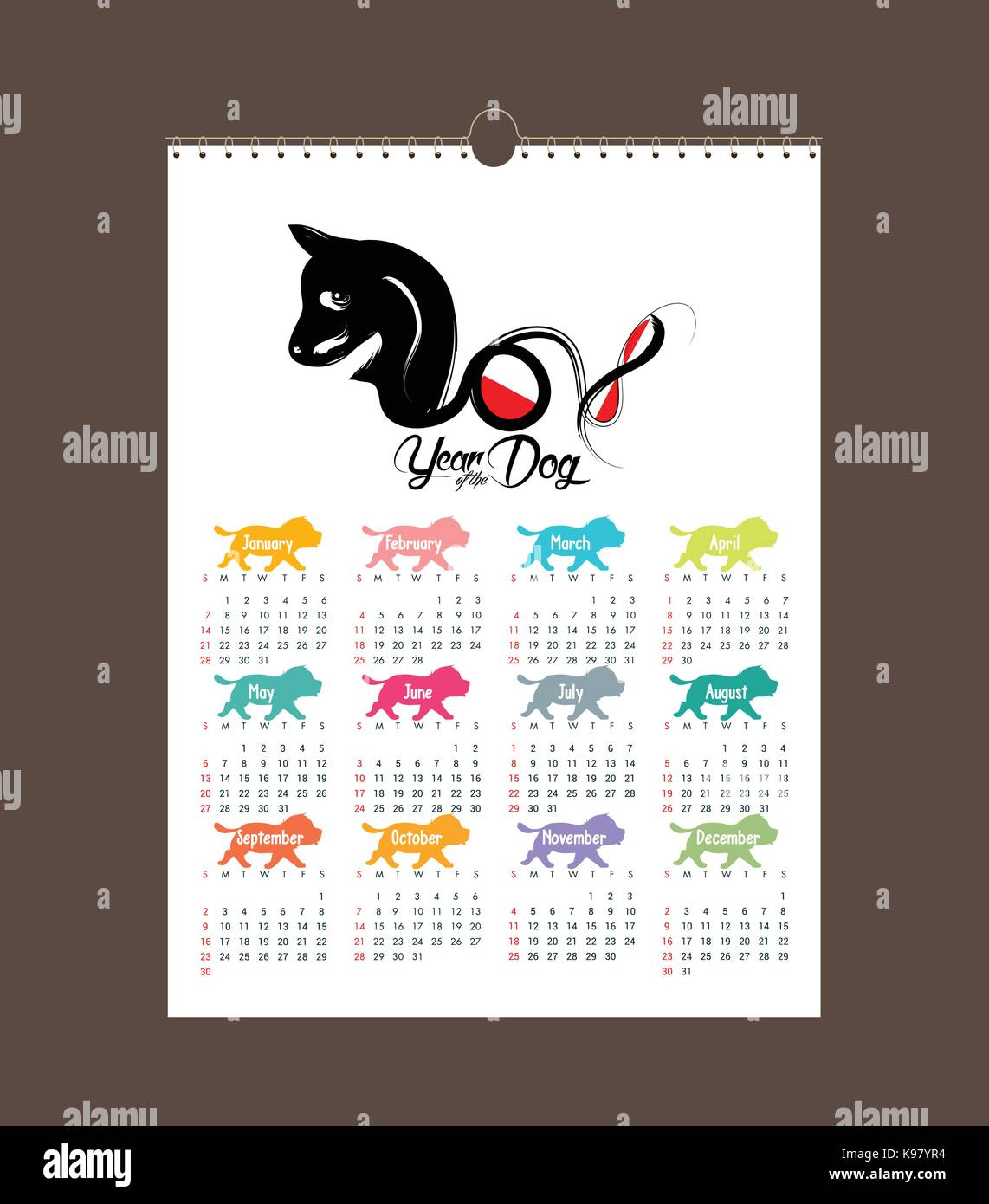 calendar 2018 design chinese new year the year of the dog zodiac monthly cards templates set of 12 month