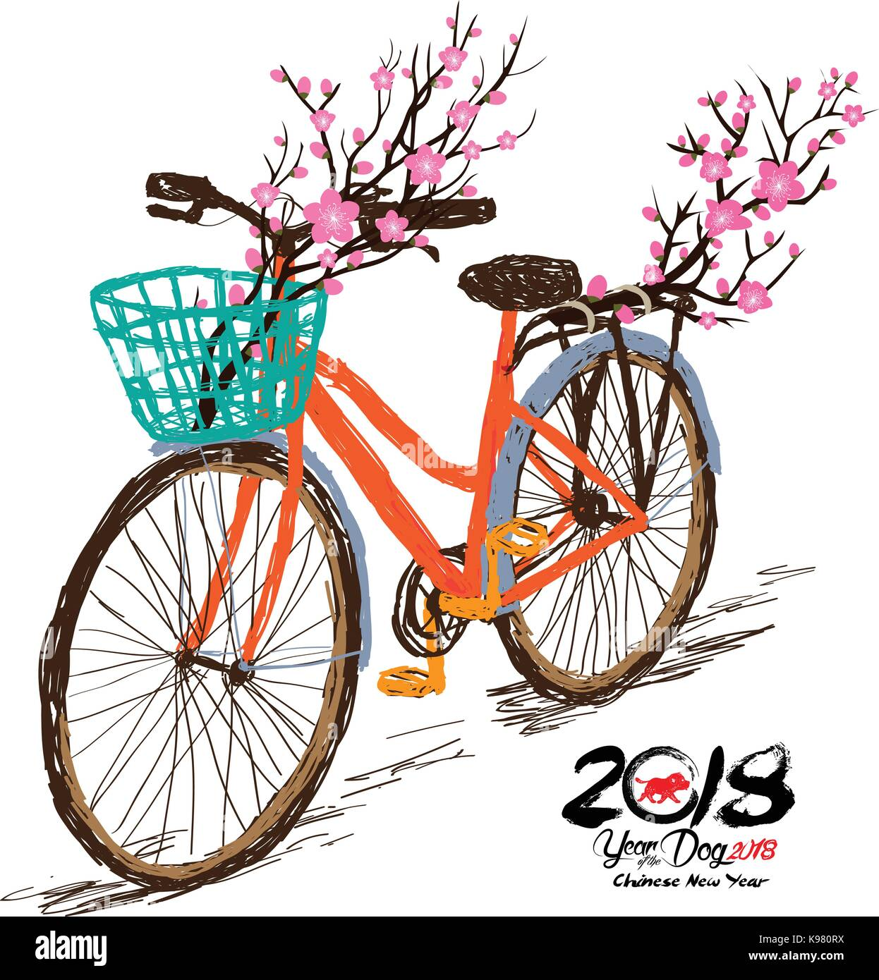 Chinese new year. Hand drawn tintage bicycle with sakura blossom in rear basket. Year of the dog 2018 - Stock Vector
