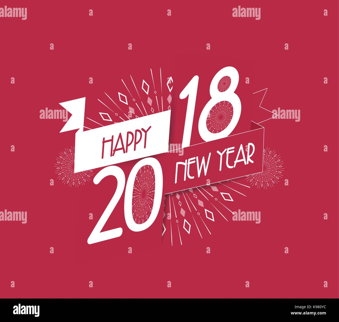 Vector illustration of fireworks. Happy new year 2018 background - Stock Vector