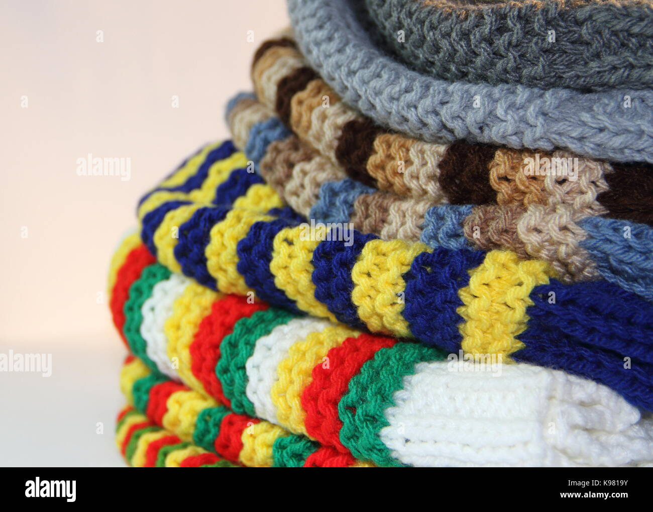 tricot, woven with two needles, winter wool - Stock Image
