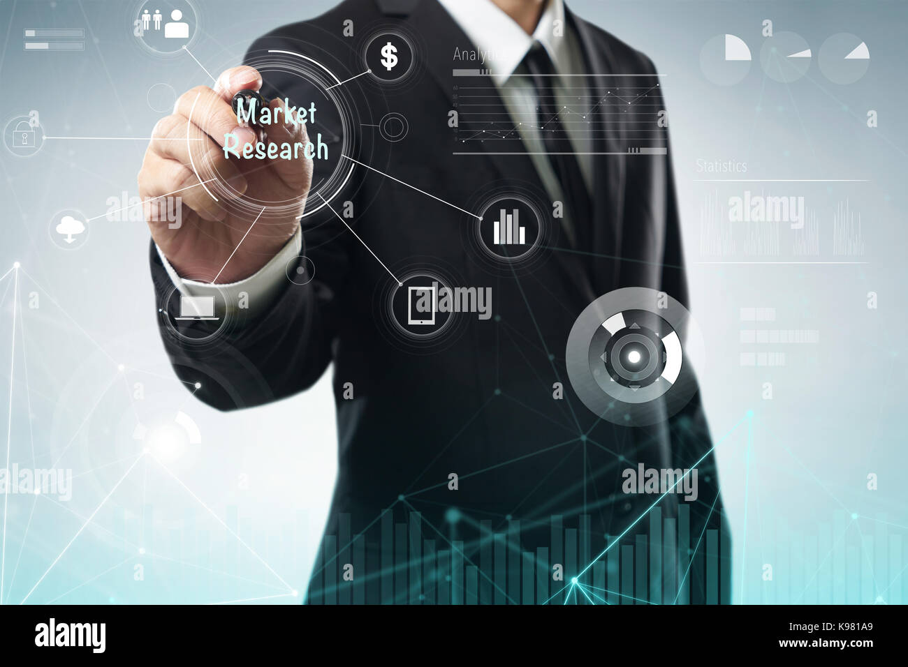 Businessman draw 'Market Research' word on digital virtual screen . Hi-tech business concept . - Stock Image