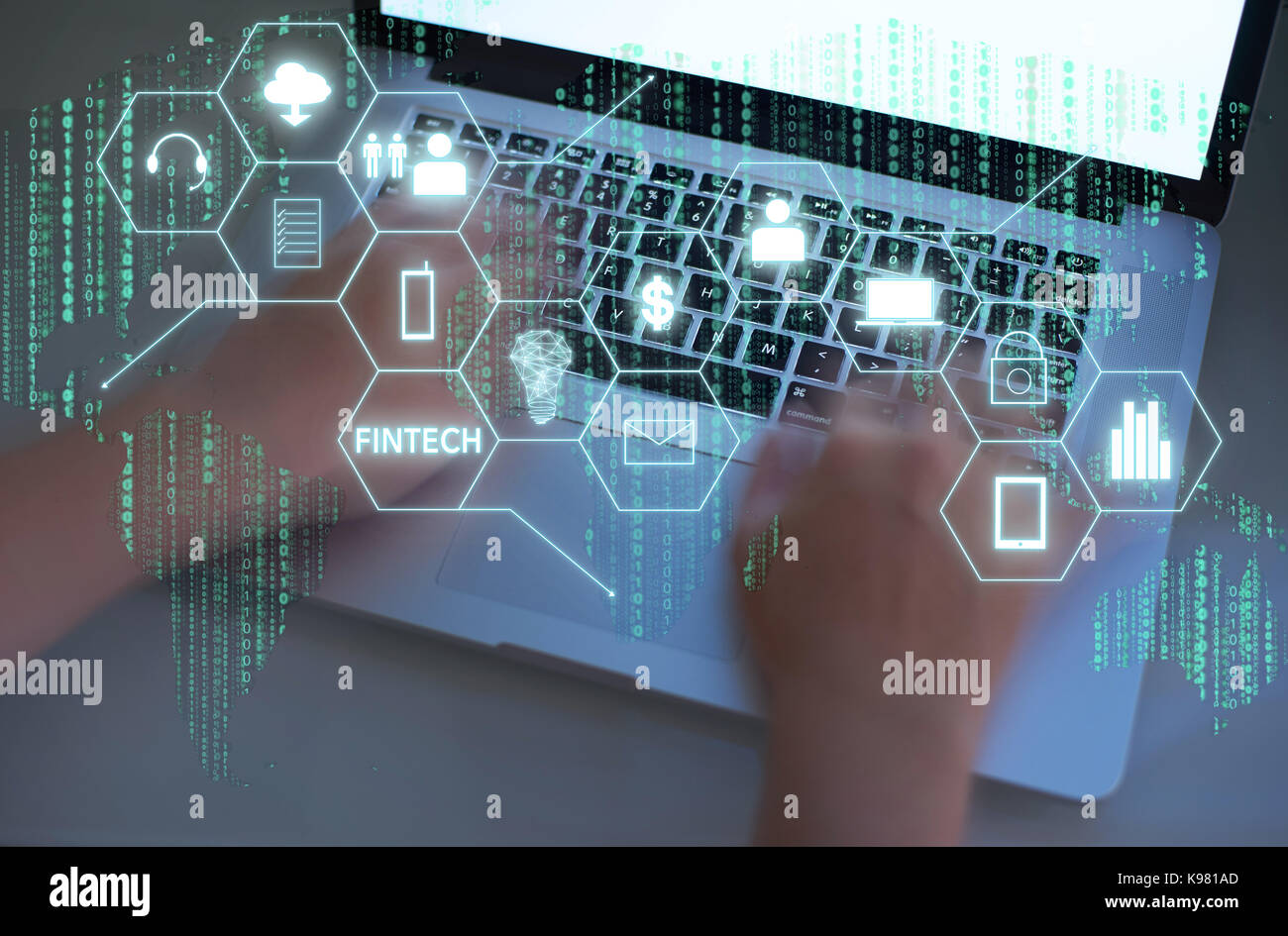 'Fintech' word on digital virtual screen with male hands typing laptop background. Hi-tech business concept - Stock Image