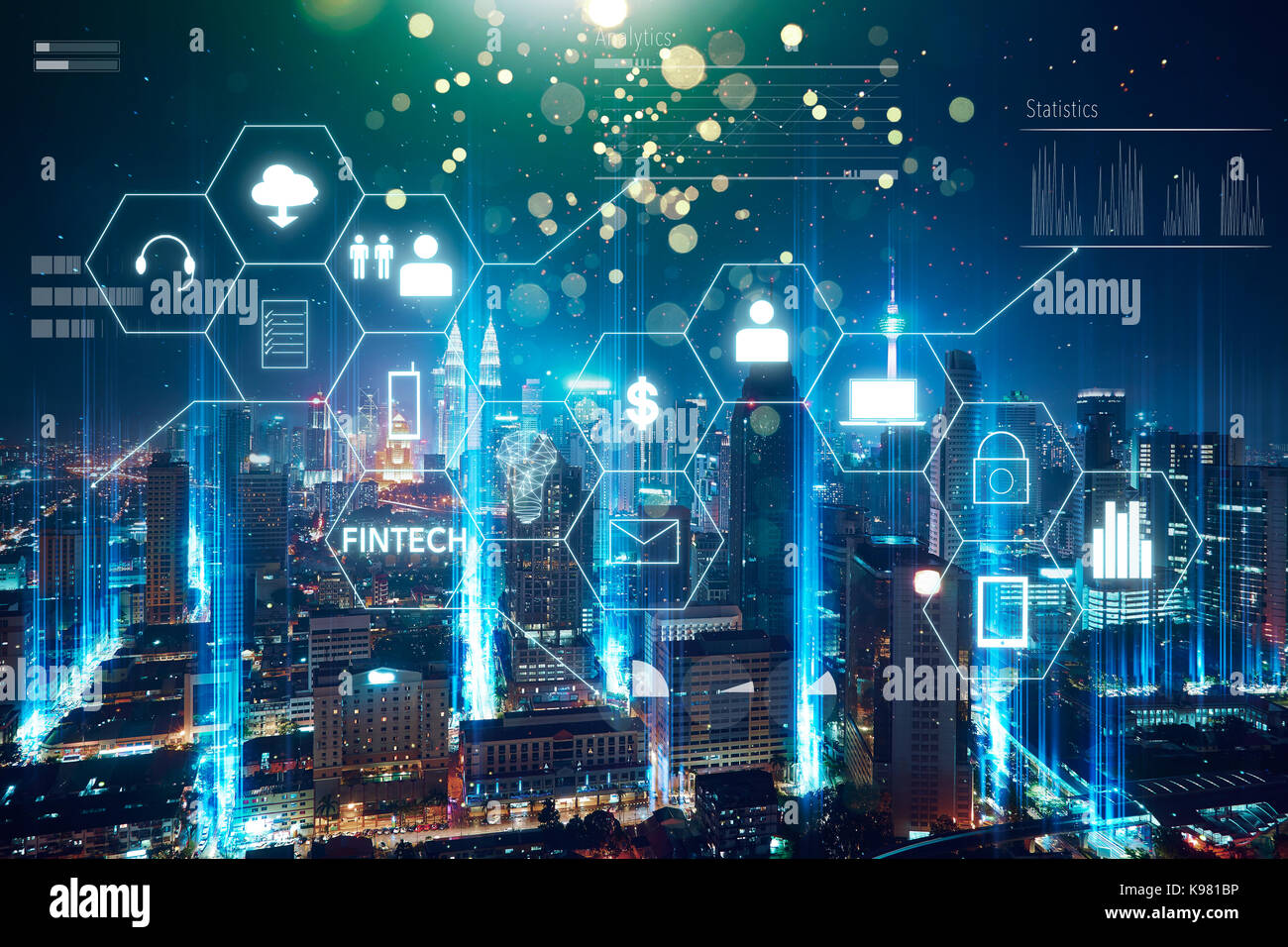 'Fintech' word on digital virtual screen with futuristic city skyline. Hi-tech business concept . - Stock Image