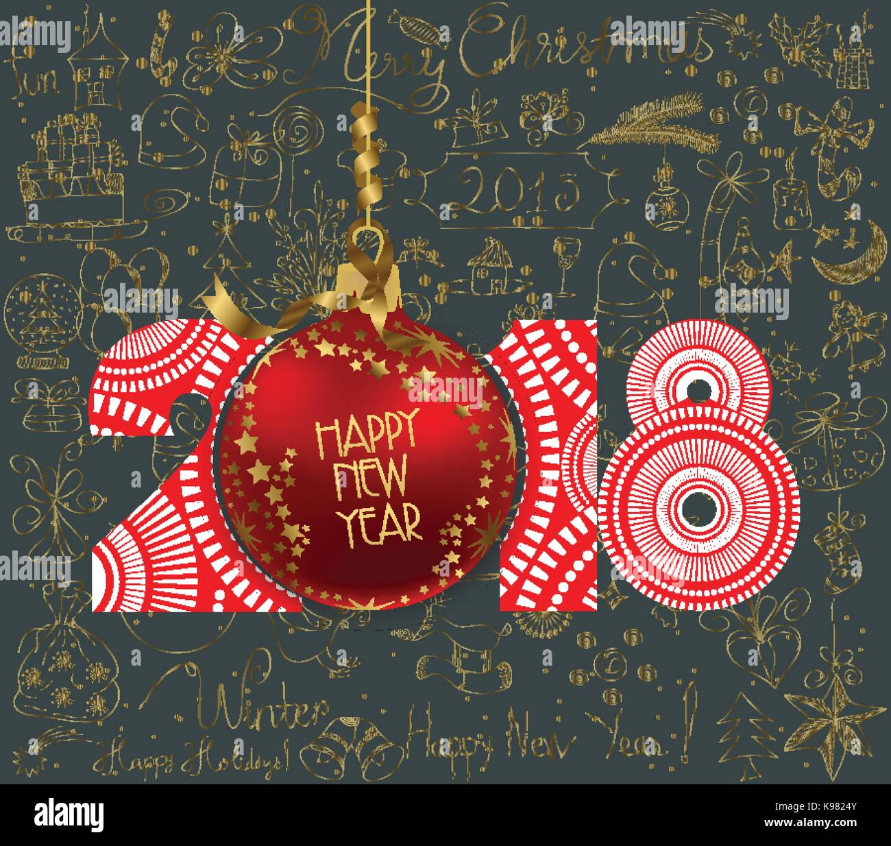 Merry Christmas Poster 2018.Luxury Elegant Merry Christmas And Happy New Year 2018