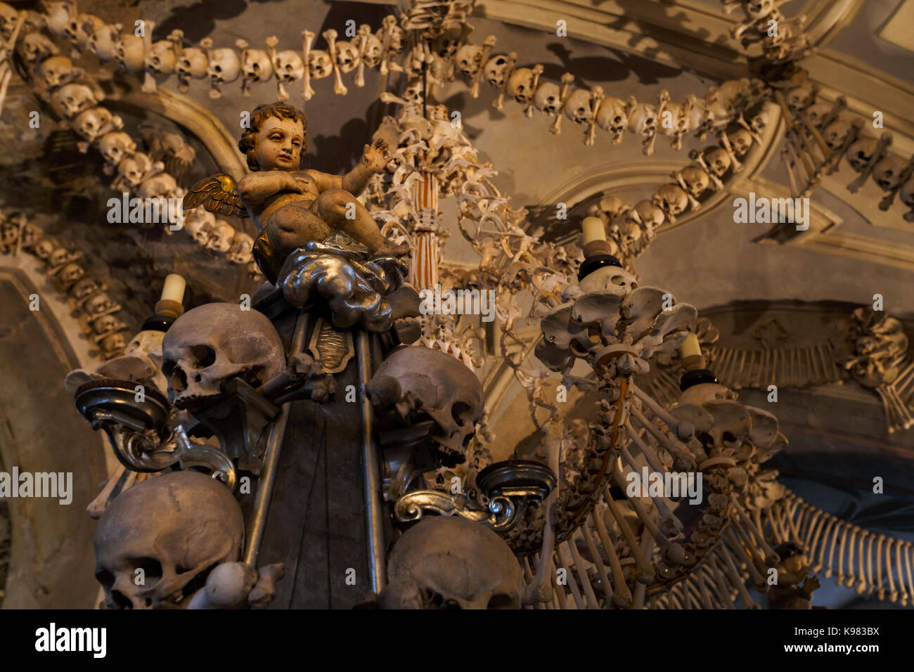 Bone decoration of Sedlec ossuary in Kutna Hora. - Stock Image