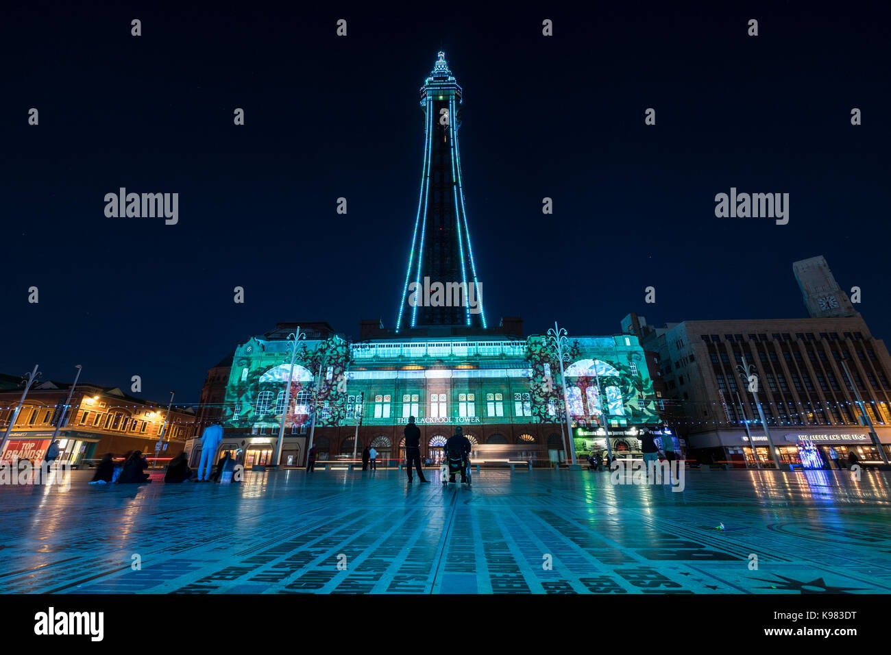 Blackpool Tower lit up at night during the Illuminations Stock Photo