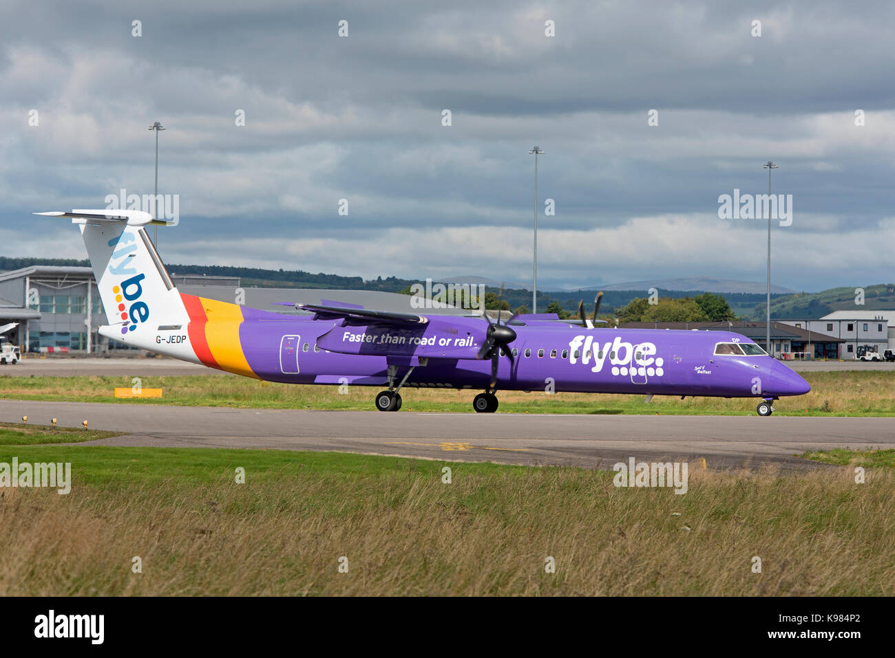 FlyBe Bombardier Dash 8 Q400 at Inverness airport ready for take off. Stock Photo