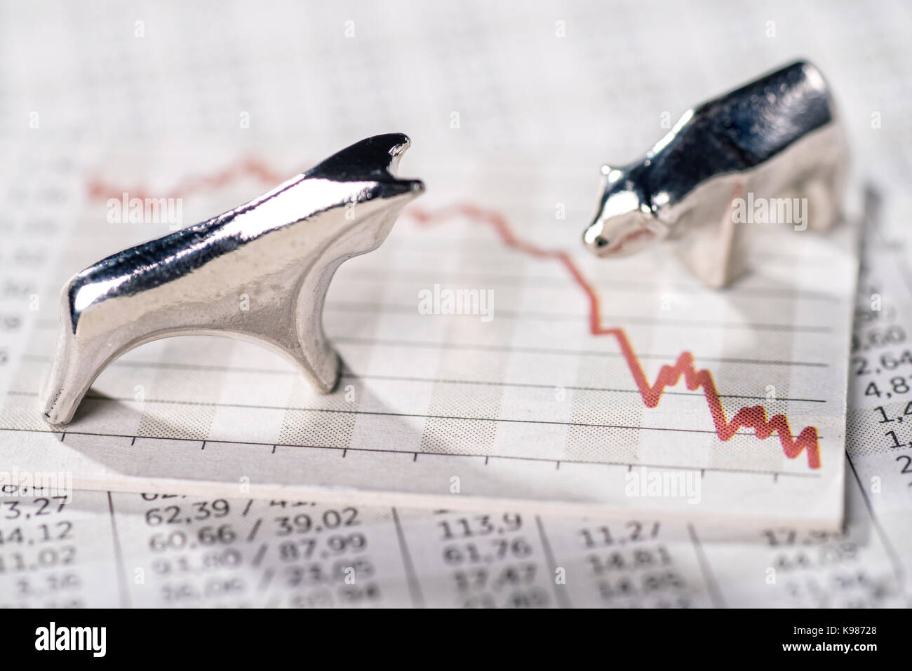 Bull and Bear and a chart with a falling curve. - Stock Image