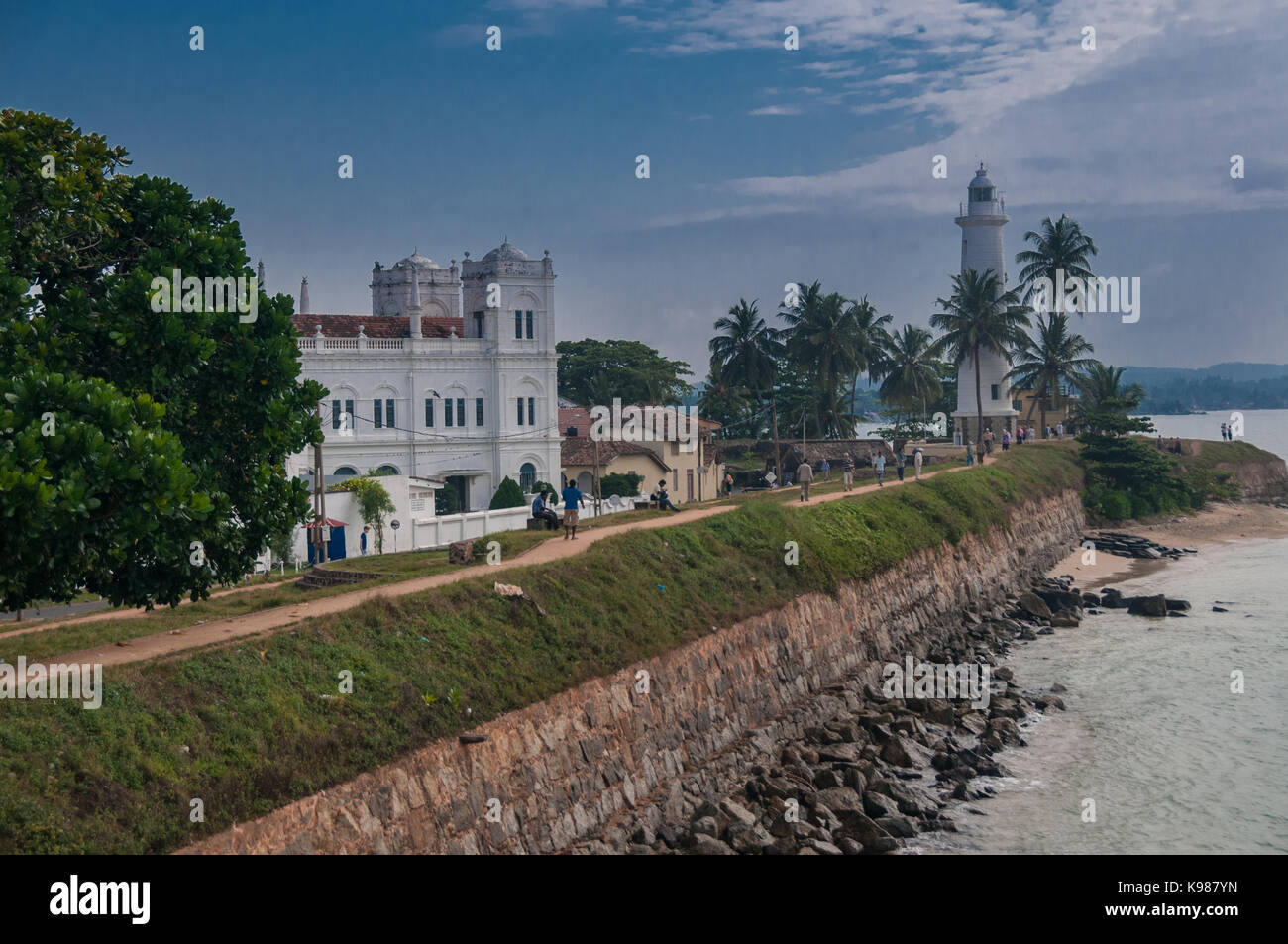 The Meeran Masjid (mosque) and the Galle Lighthouse from the fort wall. Galle, Sri Lanka. - Stock Image