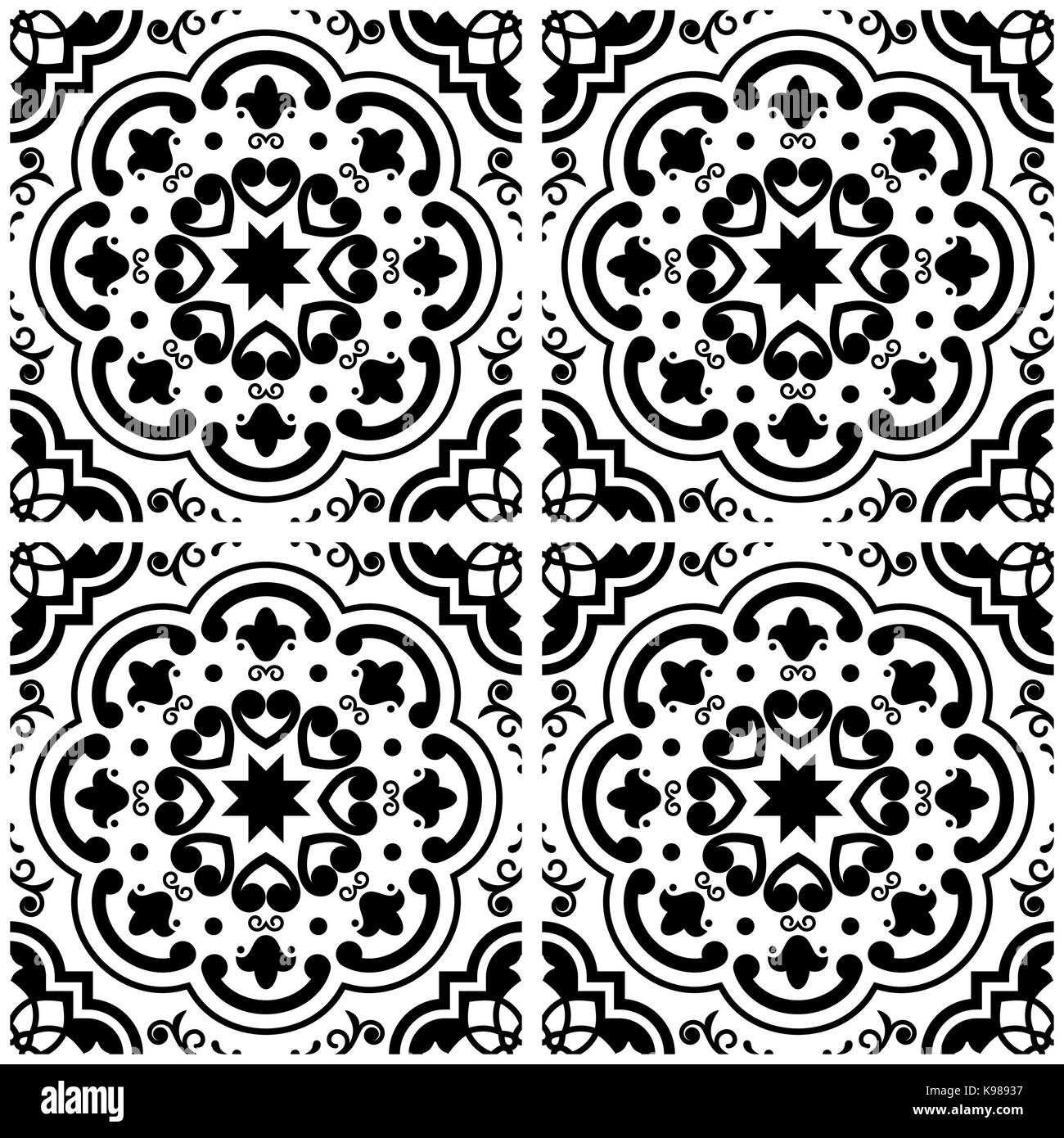 Azulejos Portuguese tile floor pattern, Lisbon seamless black and white tiles, vintage geometric ceramics - Stock Vector