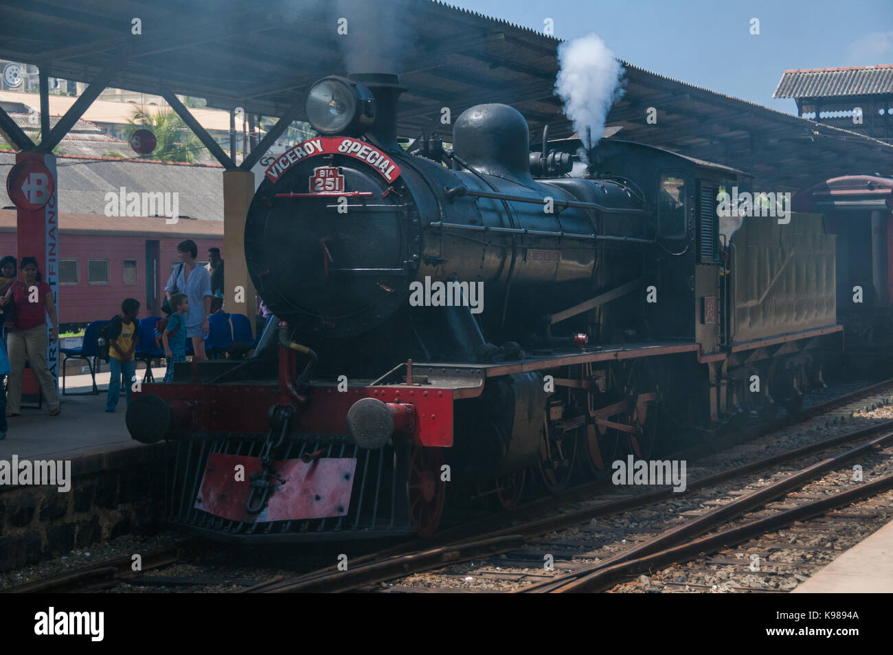 No. 251 Sir Thomas Maitland a class B1a steam locomotive being detached from the Viceroy Special at Galle Station, - Stock Image