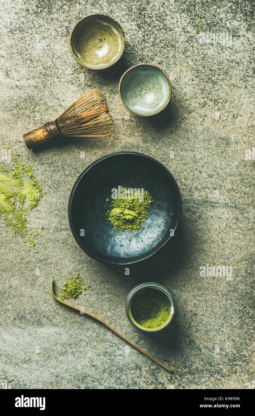 Japanese tools for brewing matcha green tea, top view - Stock Image
