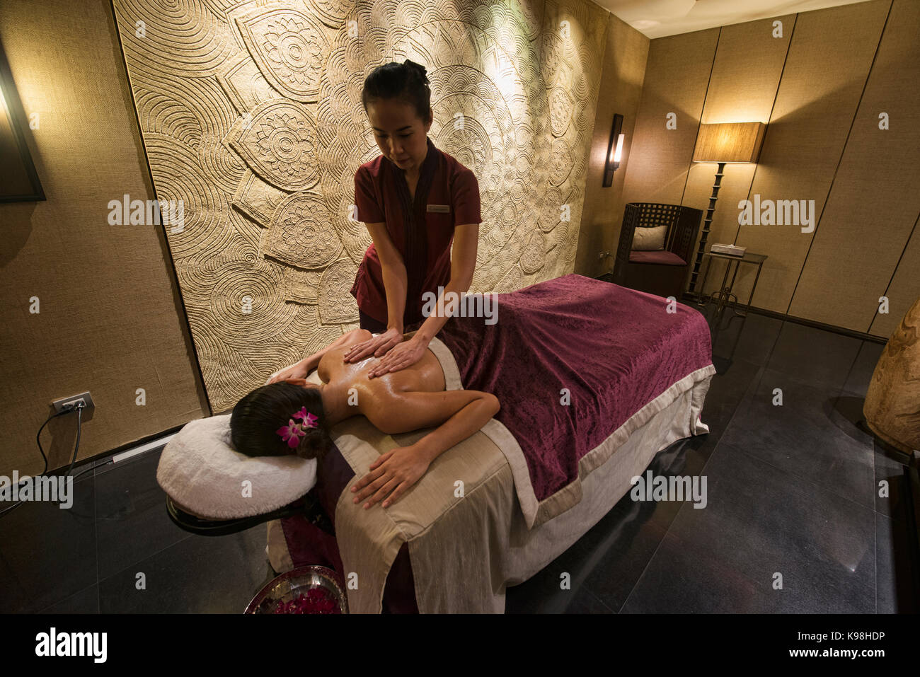 Pampering spa treatment, Bangkok, Thailand Stock Photo