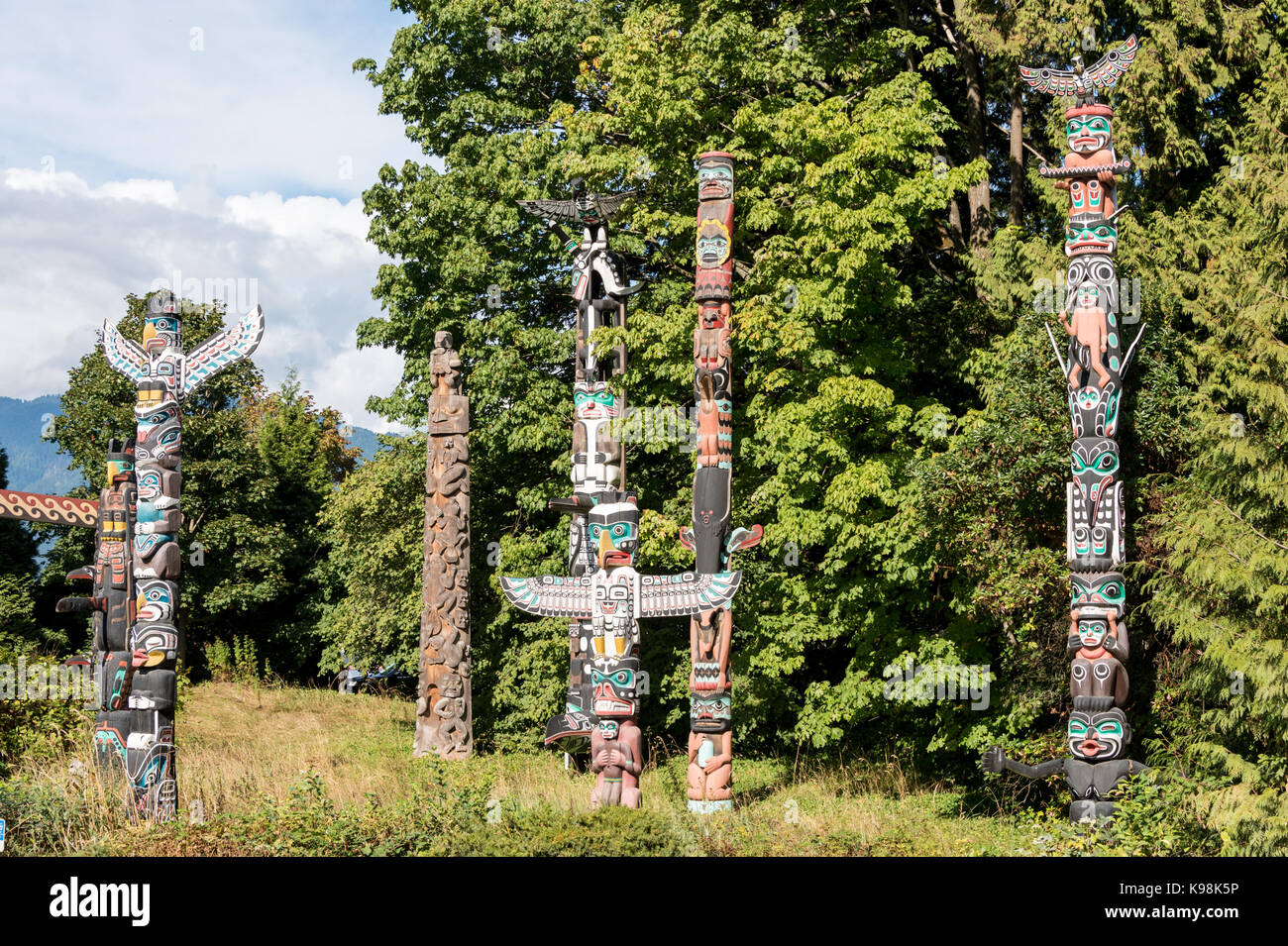 Vancouver, British Columbia, Canada - 12 September 2017: First nations art and totem poles at Stanley Park - Stock Image