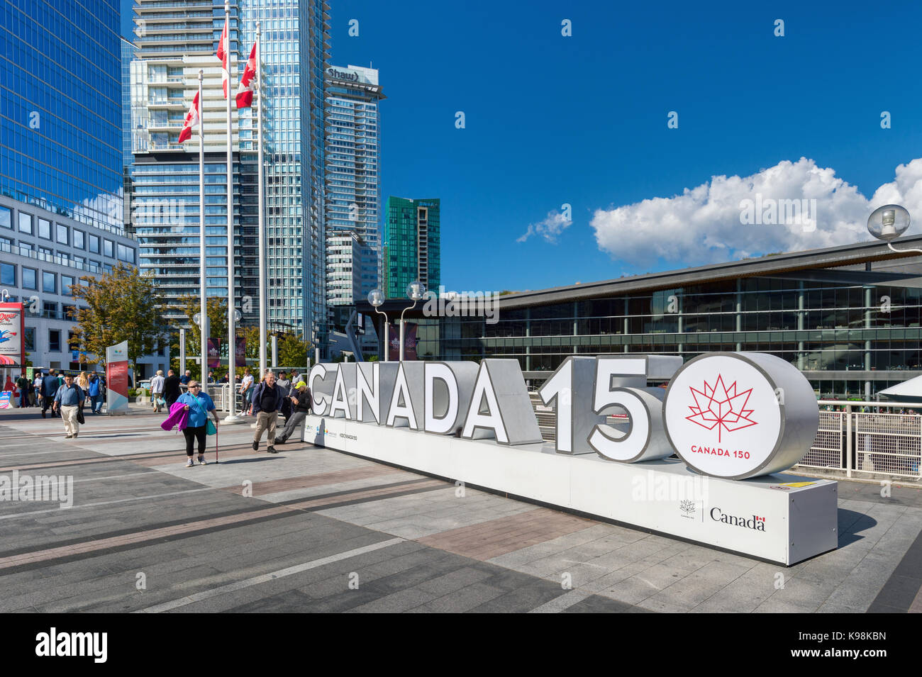 Vancouver, British Columbia, Canada - 13 September 2017: giant Canada 150 sign celebrating Canada's 150th birthday - Stock Image