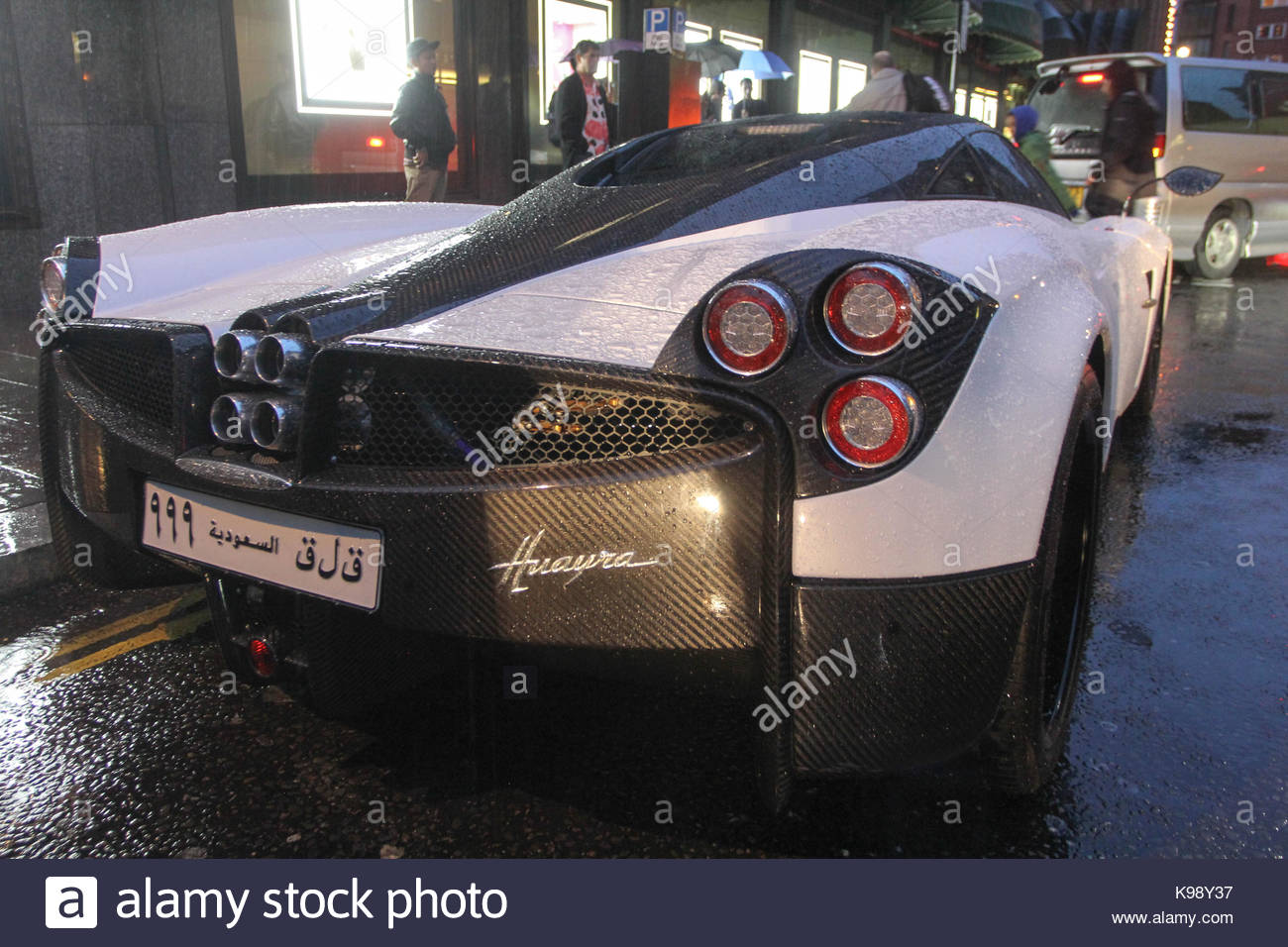 Pagani Huayra. Super cars seen parked in rainy day all over Central ...