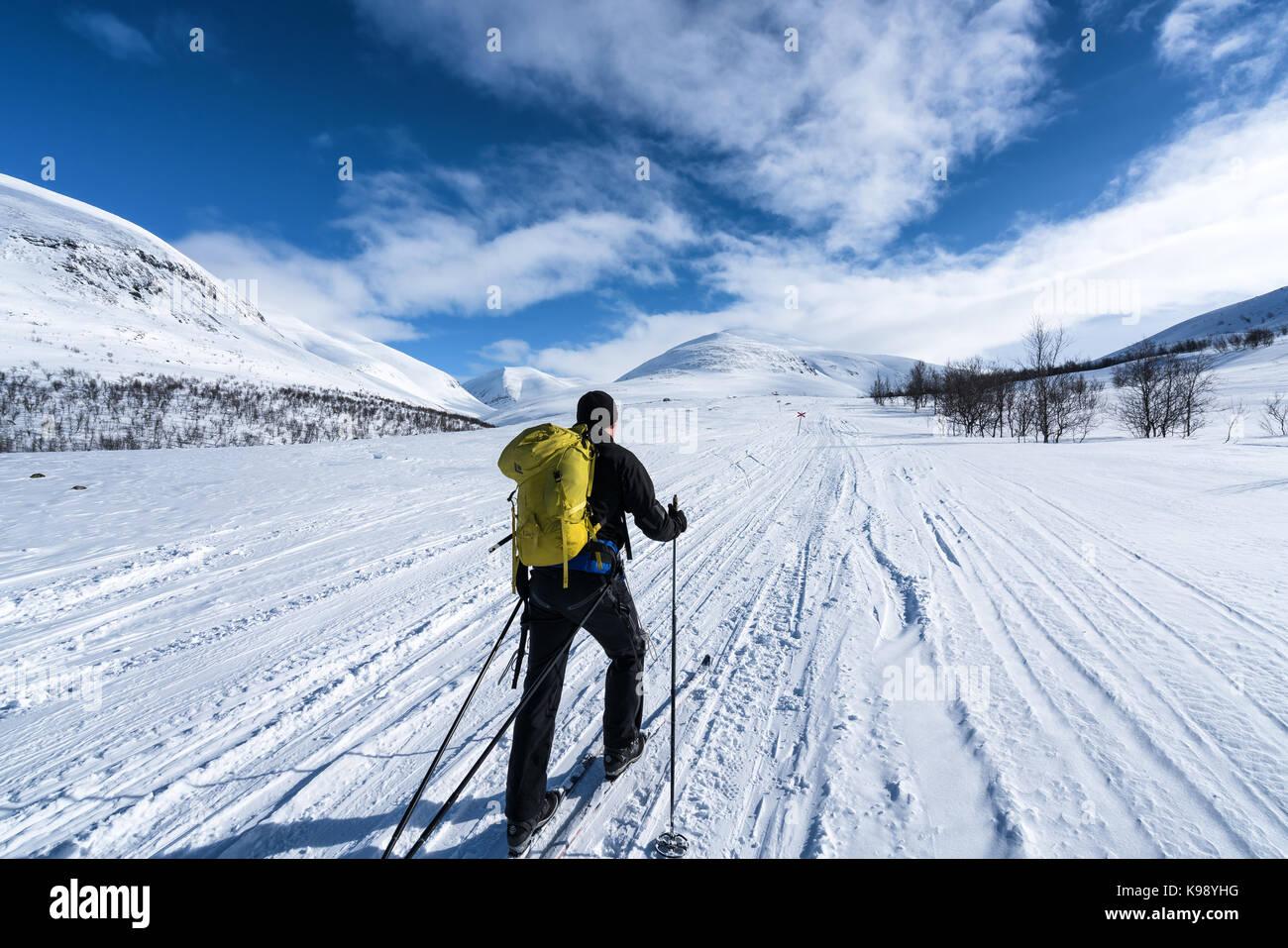 Ski touring in the Abisko national park, Sweden, Europe, EU - Stock Image