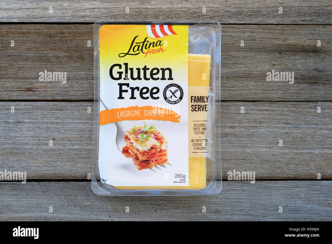 Latina Fresh Gluten Free Lasagna Sheets isolated against wooden background - Stock Image